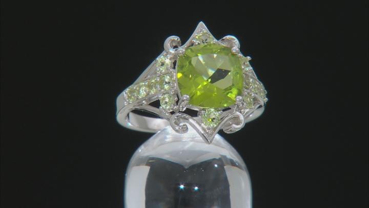 Green peridot rhodium over silver ring 3.14ctw