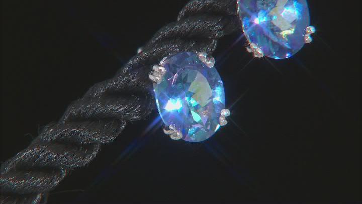 Blue petalite rhodium over sterling silver stud earrings 1.87ctw