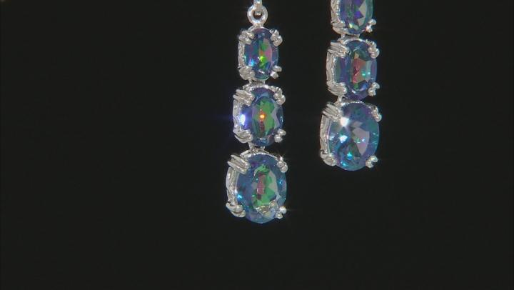 Blue petalite rhodium over sterling silver dangle earrings 3.66ctw