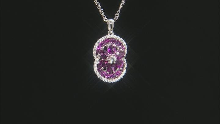 Purple Raspberry Color Rhodolite Rhodium Over Silver Pendant With Chain 4.00ctw
