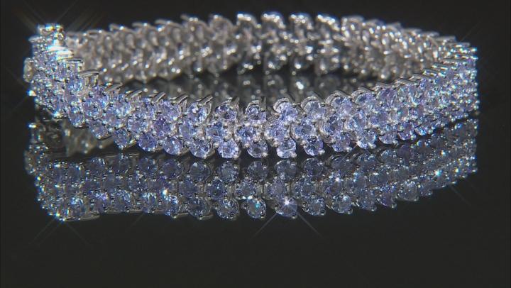 Blue tanzanite rhodium over silver bracelet 11.96ctw