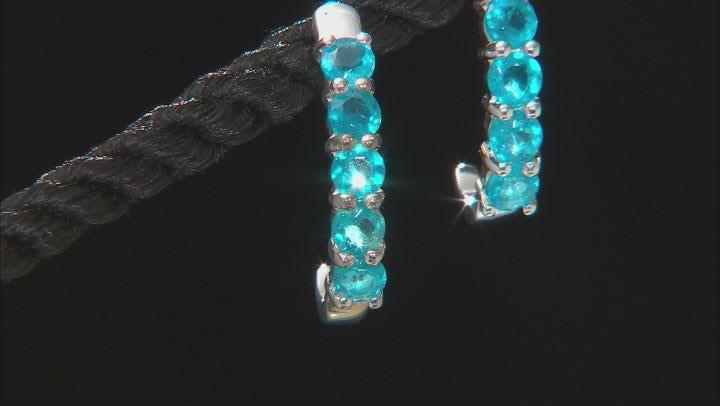 Blue neon apatite sterling silver earrings 1.30ctw
