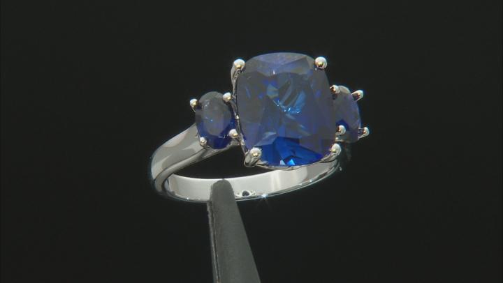 Blue lab sapphire rhodium over silver ring 6.55ctw
