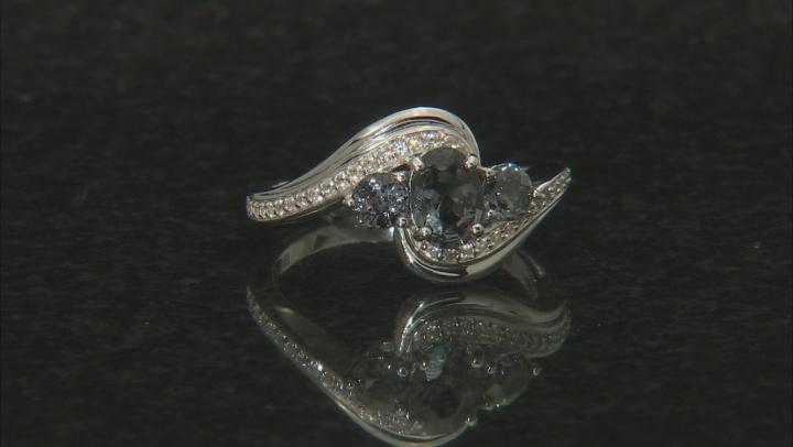 Platinum Color Spinel rhodium over silver ring 1.13ctw