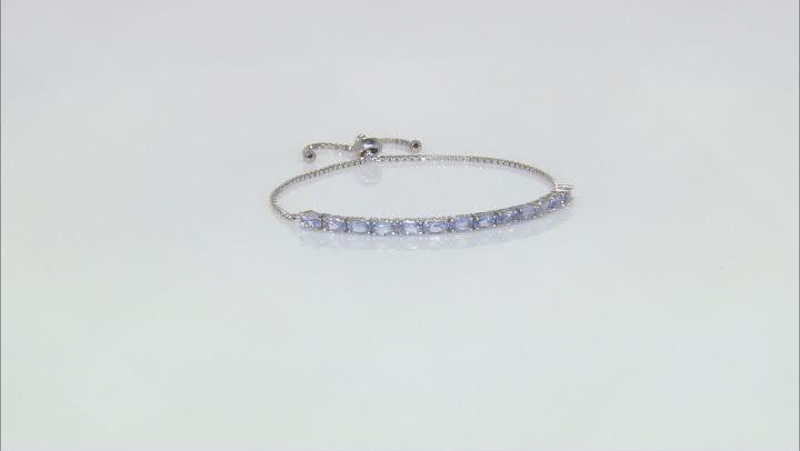 Blue Tanzanite Rhodium Over Sterling Silver Bracelet 2.86ctw