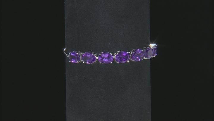 Purple African Amethyst Rhodium Over Sterling Silver Bracelet 10.15ctw