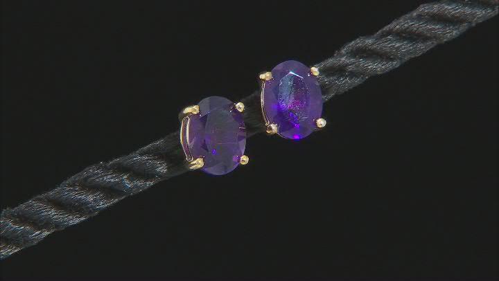 Purple Amethyst 3k Gold Solitaire Earrings 1.94ctw