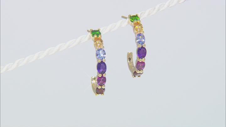 Multi Gemstone 3k Gold Earrings 2.04ctw