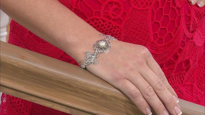White Cultured Freshwater Pearl Silver Honey Bee Bracelet
