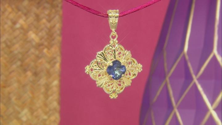 Blue Cavalier Tanzanite™ Color Quartz 18k Gold Over Silver Pendant 5.50ct