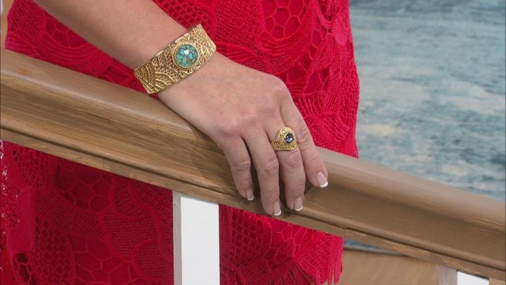 Blue Cavalier Tanzanite™  Color Quartz 18k Gold Over Silver Ring 2.00ct