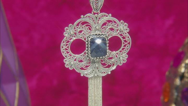Blue Sapphire Sterling Silver Pendant 4.00ct