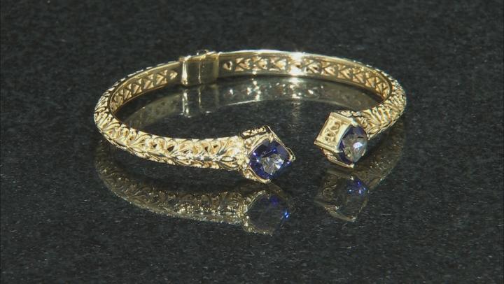 Blue Cavalier Tanzanite™ Color Quartz 18k Gold Over Silver Cuff Bracelet 2.20ctw