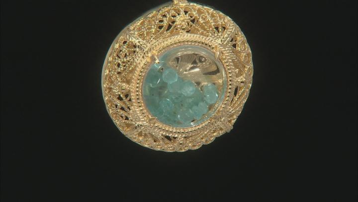 Blue Apatite 18k Gold Over Silver Shaker Pendant