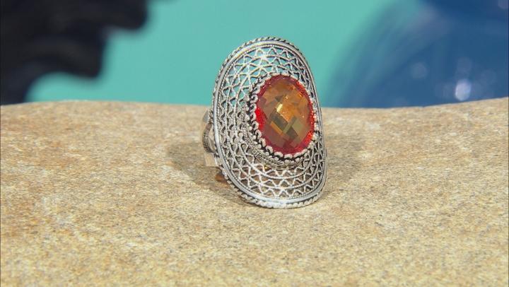 Oval Orange Quartz Sterling Silver Ring 6.00ct