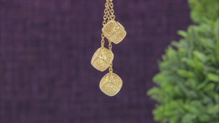 18K Yellow Gold Over Silver Rose A La Turca Filigree Y Necklace