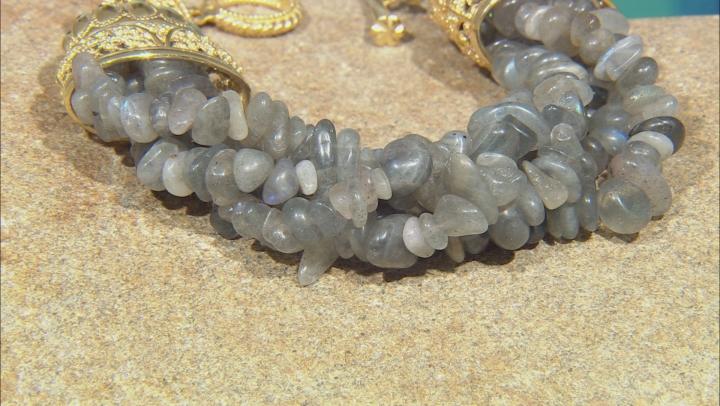 Labradorite Nugget 18K Gold Over Silver 4-Strand Bracelet