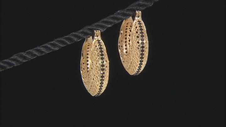 Black Spinel 18K Yellow Gold Over Sterling Silver Filigree Hoop Earrings 0.80ctw