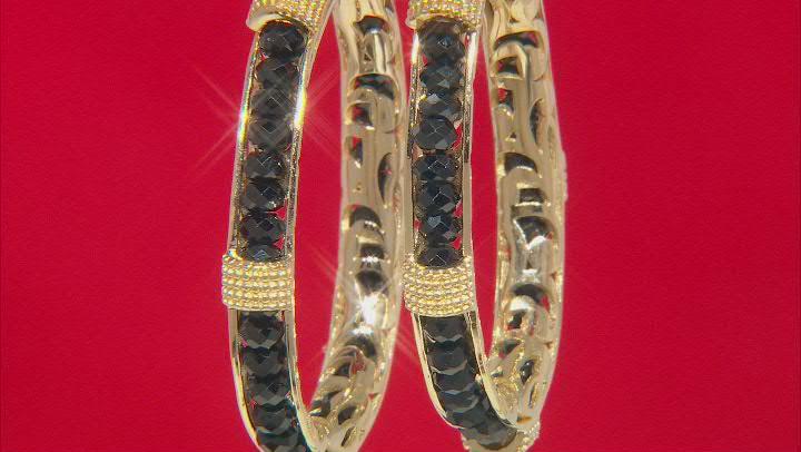 black Spinel 18K Yellow Gold Over Sterling Silver Hoop Earrings