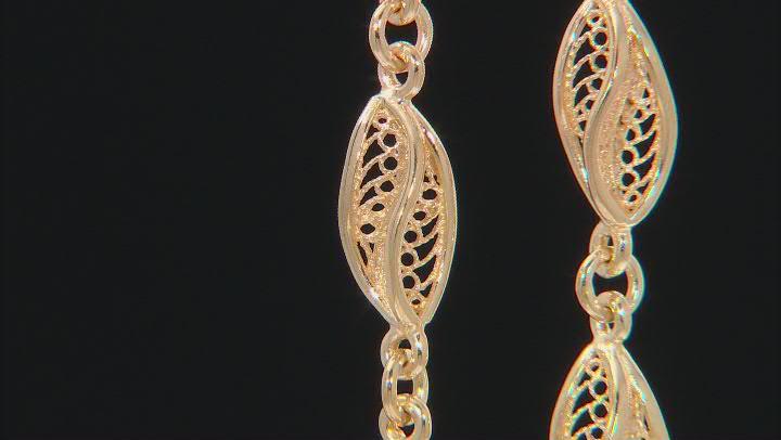 18K Gold Over Sterling Silver Petite Waves Drop Earrings