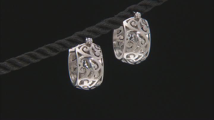 Rhodium Over Sterling Silver Filigree Huggie Earrings