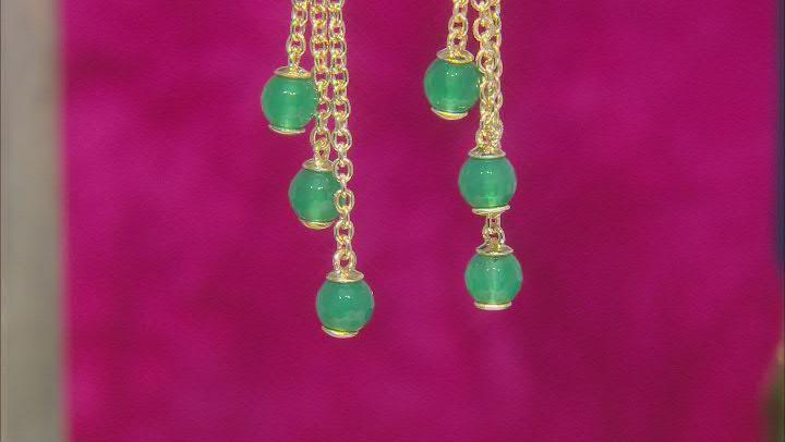 Green Onyx 18K Yellow Gold Over Sterling Silver Dangle Earrings