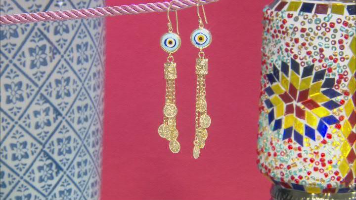 Crystal Evil Eye 18K Yellow Gold Over Sterling Silver Earrings