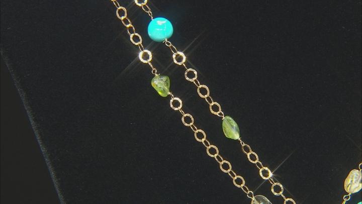 Sea Foam Green Drusy Quartz 18k Gold Over Silver Necklace and Enhancer