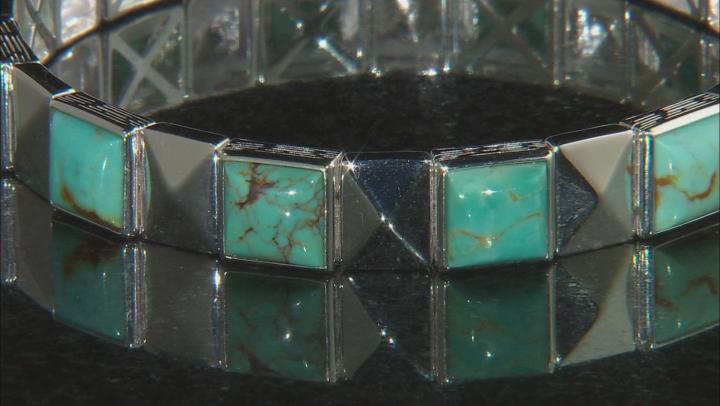 Turquoise Green Kingman Silver Stretch Bracelet