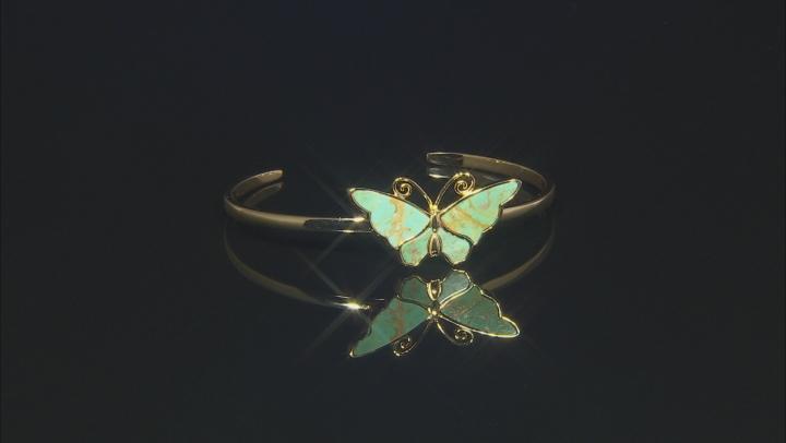 Turquoise Kingman 18K Yellow Gold Over Silver  Bracelet