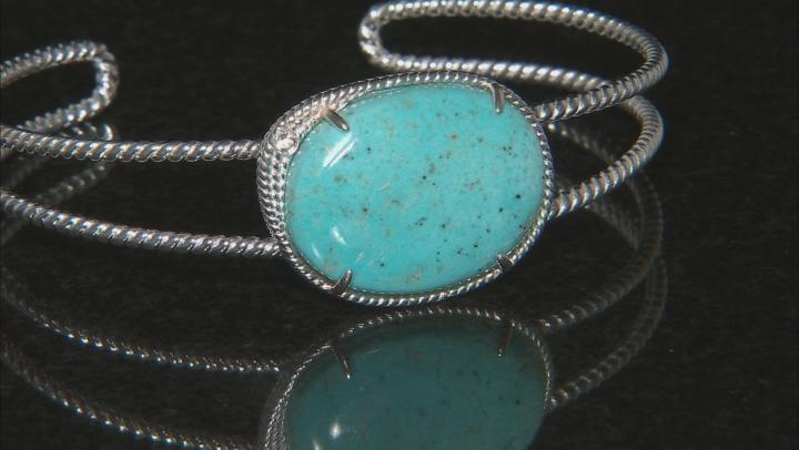 Sleeping Beauty Turquoise Sterling Silver Cuff Bracelet .04ctw