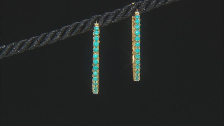 Blue Kingman Turquoise 18k Gold Over  Silver Hoop Earrings