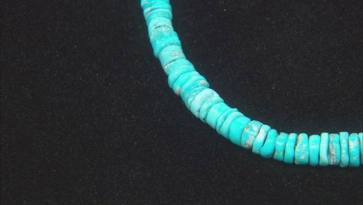 Sleeping Beauty Turquoise Heshi Bead Silver Bracelet