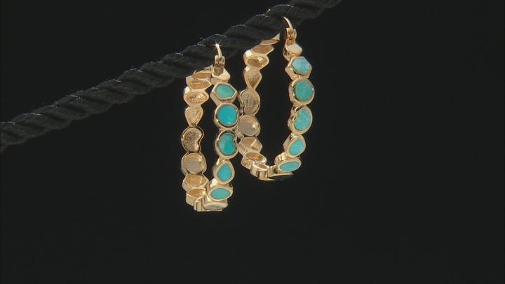 Sleeping Beauty Turquoise 18K Gold Over Silver Hoop Earrings