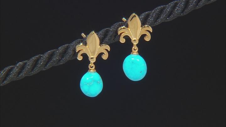 Sleeping Beauty Turquoise 18K Yellow Gold Over Silver Earrings