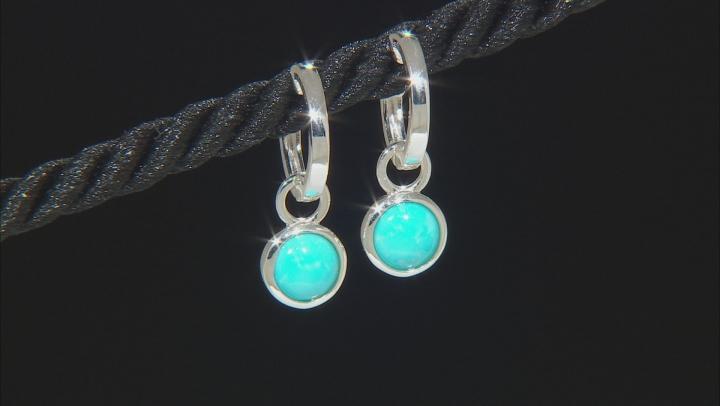 Sleeping Beauty Turquoise Silver Huggie Earrings