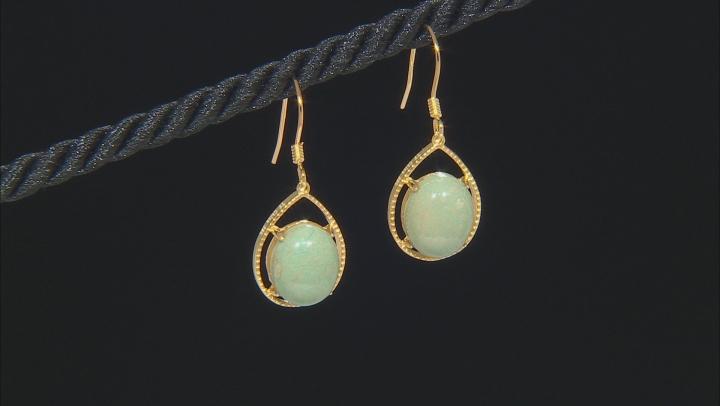 Green Kingman Turquoise 18k Yellow Gold Over  Silver Dangle Earrings