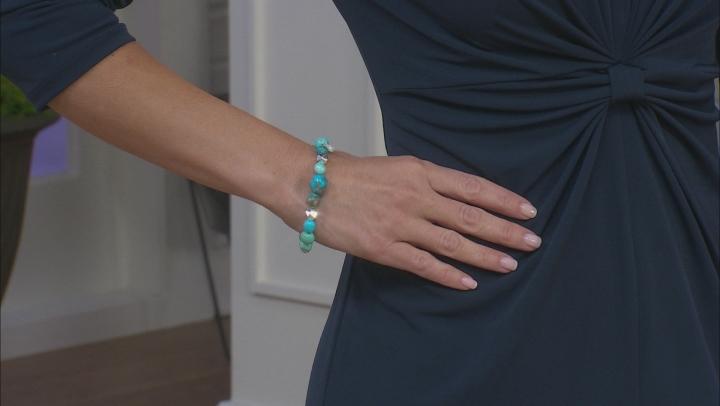 Blue Kingman & Hematine Stretch Bracelet