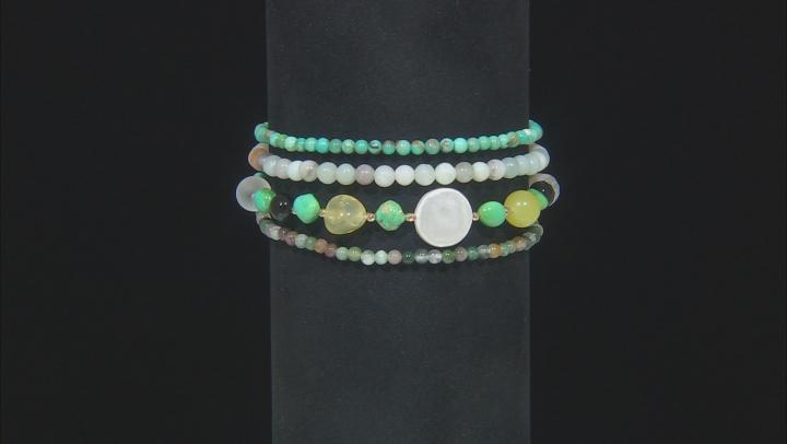 Sleeping Beauty & Kingman Turquoise W/ Mix Gems 18K Over Silver Bracelet