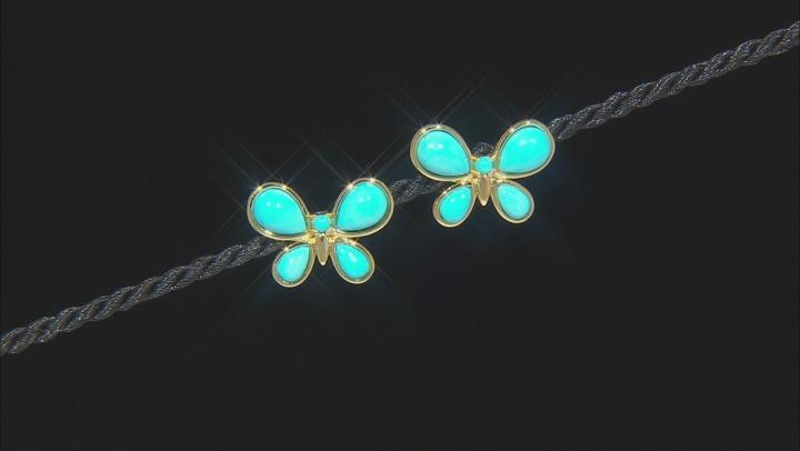 Sleeping Beauty Turquoise 18K Gold Over Silver Butterfly Stud Earrings