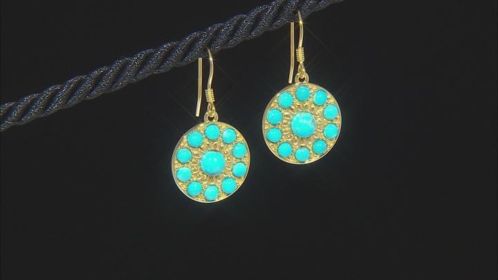 Kingman Turquoise 18K Gold Over Silver Disc Earrings
