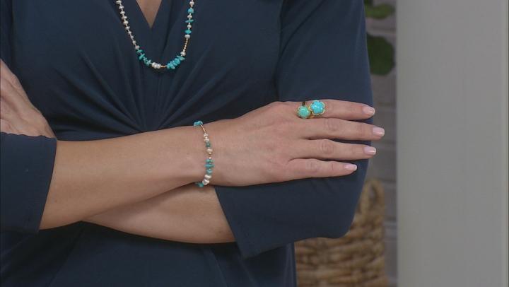 Kingman Turquoise 18K Gold Over Silver Flower Bypass Ring