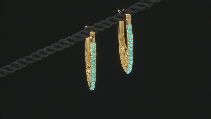 Blue Sleeping Beauty Turquoise 18k Yellow Gold Over Sterling Silver Hoop Earrings