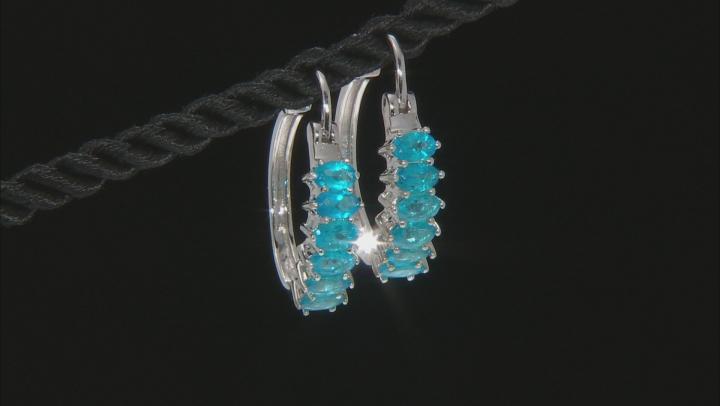 Blue Neon Apatite Sterling Silver Hoop Earrings 2.20ctw