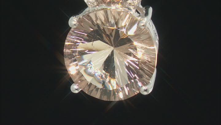 Champagne Quartz Rhodium Over Silver Pendant With Chain 5.80ctw