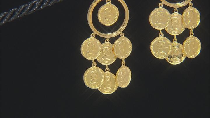 18k Gold Over Silver Coin Replica Earrings