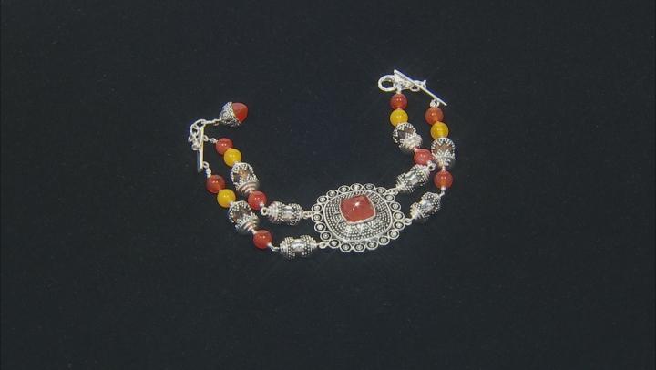 Red Onyx Rhodium Over Silver Bead Bracelet