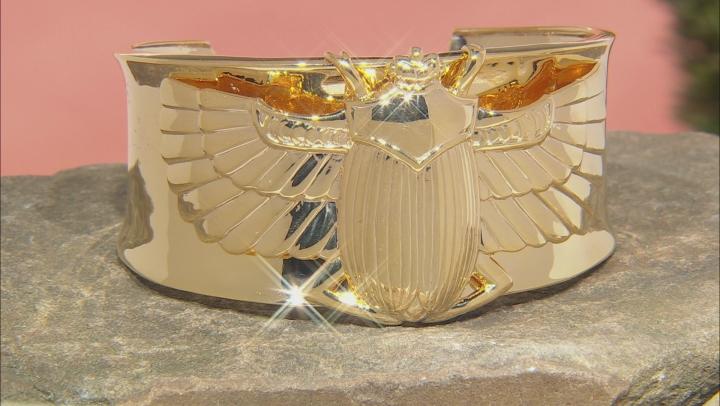 18k Yellow Gold Over Brass Scarab Cuff Bracelet