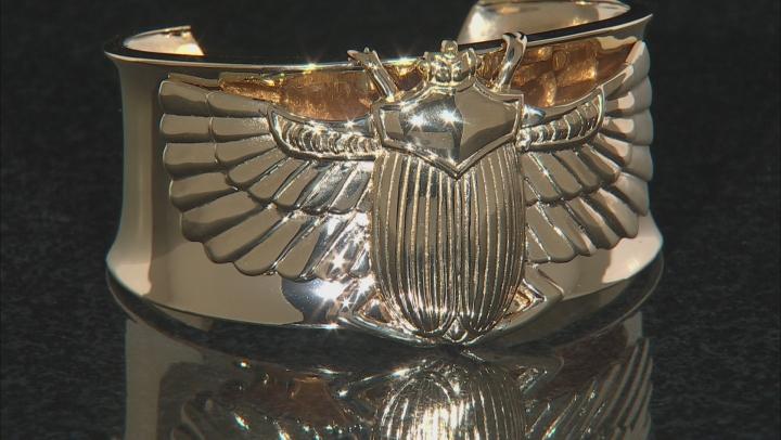 18k Gold Over Brass Scarab Cuff Bracelet