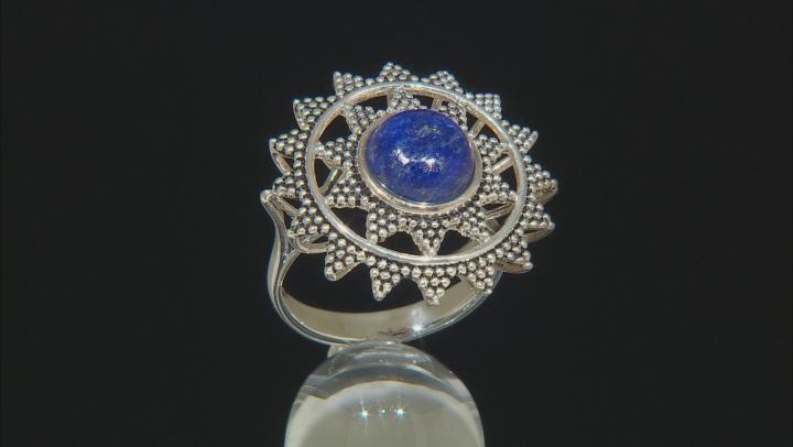 Lapis Lazuli Rhodium Over Sterling Silver Statement Ring
